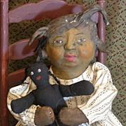 "SOLD ""Lula"" A Primitive one of a kind Folk art Black doll"