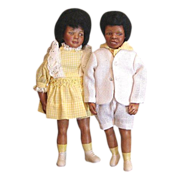 SALE Great original Black bisque  brother and sister doll's