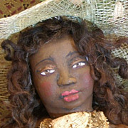 "'Miss Netti"" One of a kind sculpted Black Folk Art doll"
