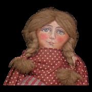 Wonderful Primitive Folk Art cloth doll one of a kind