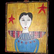 Folk Art primitive Angel painting