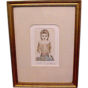Wonderful  original etching of Antique bisque doll