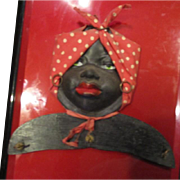 Rare and very charming rubber faced mammy key holder