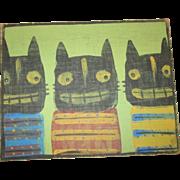 Halloween Folk art Cats painting original