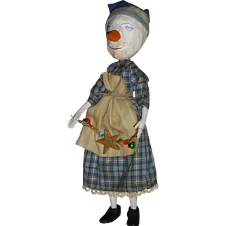 Primitive Snowman sculpted girl -One of a kind