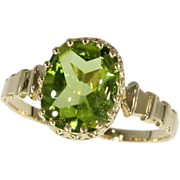 SALE Fine antique French 18K yellow gold ring with peridot