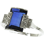 SALE Art Deco Ring Sapphire and Diamond ca.1920