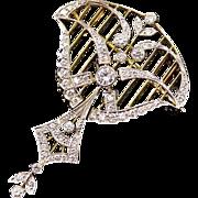 Lyrical Vintage Edwardian Style Pendant Brooch in Diamonds Platinum 18k Yellow Gold