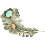 Vintage Sterling Turquoise Coral Feather Brooch