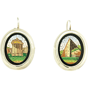 SOLD Vintage Micro Mosaic Sterling Silver Earrings