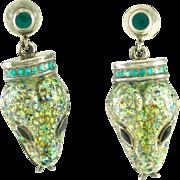 Vintage Margot de Taxco Sterling Silver Enamel Snake Earrings - Mexico