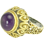 Exotic Amethyst Sterling Silver Gold Ring