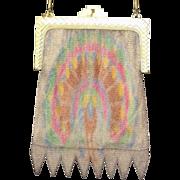 Vintage Art Deco Whiting and Davis Dresden Mesh Peacock Handbag