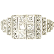 Art Deco Diamond 14k White Gold Ring - Video