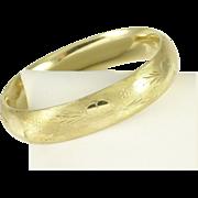 Vintage 14k Gold Floral Flower Etched Rinegold Bangle Bracelet
