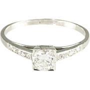 Vintage Art Deco European Cut Diamond 18K White Gold Engagement Ring - Video