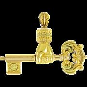 Dramatic Antique Victorian 18k Gold Fob Pendant Watch Key Hand