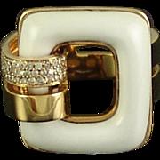 Estate 18k Gold White Onyx Diamond Ring