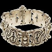 Vintage Forties Taxco Mexico 980 Sterling Silver Bracelet - Spratling Vindobonesis Design