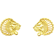 Vintage 14k Gold Lion Head Earrings - Metropolitan Museum of Art
