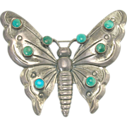 Large Vintage Sterling Silver Turquoise Butterfly Brooch