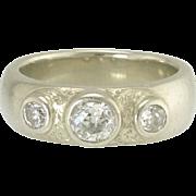 Vintage Art Deco Three Stone European Cut Diamond 14k White Gold Ring - Video
