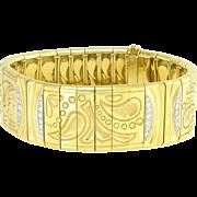 Vintage Michael Bondanza Diamond 18k Gold Platinum Bracelet