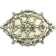 Antique Georgian Cut Steel and Mother of Pearl Brooch