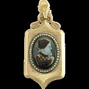 Large Antique Victorian Sardonyx Cameo 14k Gold Rose Cut Diamond Locket Pendant