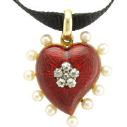 Antique Edwardian 18k Gold Diamond Pearl Red Enamel Witch Heart Pendant