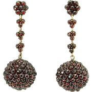 Rich Victorian Rose-Cut Garnet Pendant Earrings