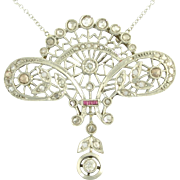 Antique Edwardian Diamond Ruby Platinum Topped 18k Yellow Gold Filigree Pendant