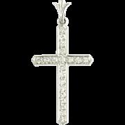 Vintage Art Deco Diamond Platinum Cross Pendant