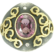 Exceptional Estate Alishan Pink Tourmaline Sterling Silver and 18k Gold Ring