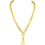 Antique Victorian 14k Gold Textured Y Chain Necklace