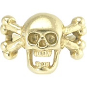 Vintage Memento Mori Skull and Crossbones Ring in 14k Gold