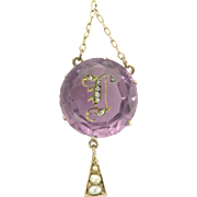 Rare Antique Victorian Amethyst Rose Cut Diamond Pearl 14k Gold Initial I Pendant