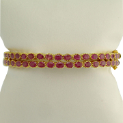 Vintage Pair of Ruby and 22k Gold Bangle Bracelets