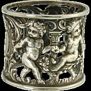 SOLD Charming Dancing Cherub Sterling Silver Art Nouveau Napkin Ring