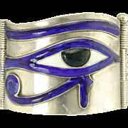 Vintage Silver Enamel Eye of Horus and Lotus Flower Bangle Bracelet