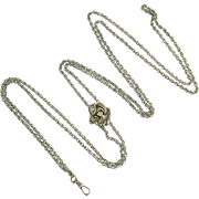 Wonderful Antique Art Nouveau Slide and Chain in Sterling Silver