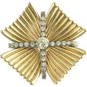 Stylish Retro Diamond Brooch Pendant Slide in 14k