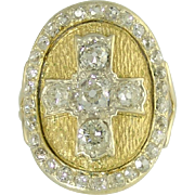 Charismatic Vintage Old European Cut Diamond Cruciform Cross Ring in 18k Gold