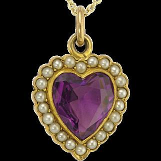 Romantic Antique Amethyst Pearl 14k Gold Heart Pendant