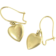 Lovely Vintage Heart Earrings in 14k Yellow Gold