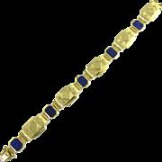 Architectural Vintage Lapis Lazuli 18k Gold Geometric Bracelet