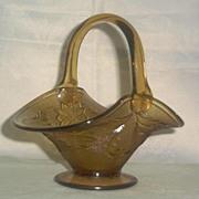 """Sandwich"" Pattern Amber Glass Basket"