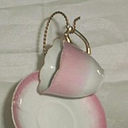 German Pink And White Demitasse Cup And Saucer