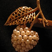Trafari Faux Pearl Cherry Pin With Crown Mark