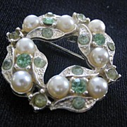 Faux Pearl And Rhinestone Pin